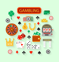Gambling flat icons set vector image