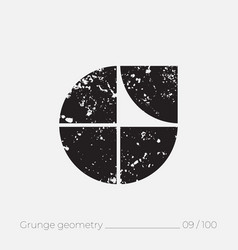 Geometric simple shape in grunge retro style vector