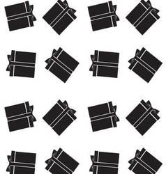 Gift box black white pattern vector image
