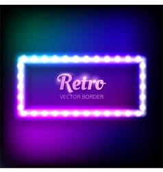 Glowing neon frame with light bulbs vector