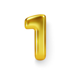 Golden number balloon 1 one realistic 3d vector