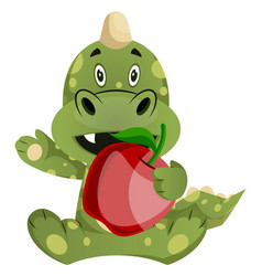 Green dragon is holding an apple on white vector