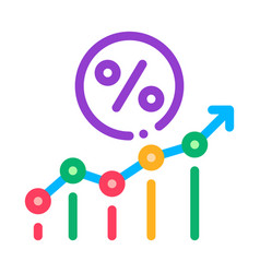 Grow percent icon outline vector
