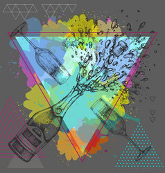 Hand drawing of champagne bottle and glass vector