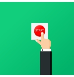 Hand press red button Start project concept Flat vector