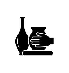 Handmade pottery black glyph icon vector