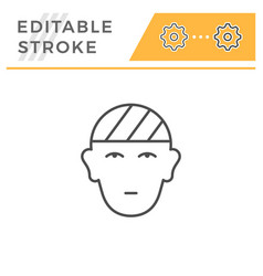 Head injury editable stroke line icon vector