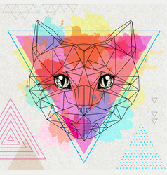 Hipster polygonal animal cat on artistic vector