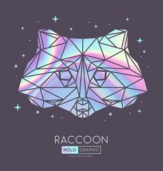 holographic polygonal tirangle animal raccoon vector image