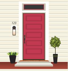 House door front with doorstep and mat steps vector