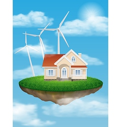 House with wind turbines on a floating island vector