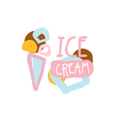 ice cream logo template badge for restaurant bar vector image
