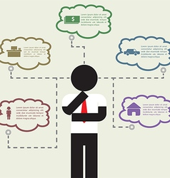 Infographic businessman thinking about his life vector