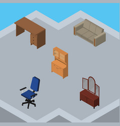 Isometric furnishing set of office couch drawer vector