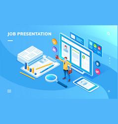Job presentation or work application screen vector