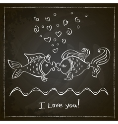 Kiss of two fishes drawing vector