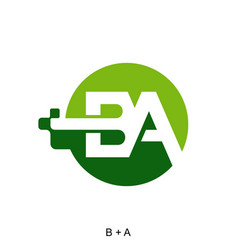 Letter b and a with digital icon vector