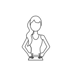 Line healthy woman with clothes to do exercise vector