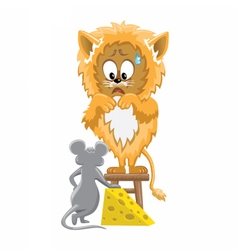 Lion and mouse with cheese vector image