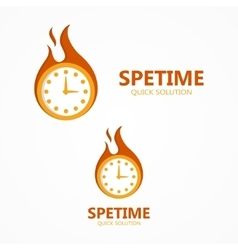 logo or icon clock in a fire vector image