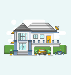 modern house outline style and flat color design vector image