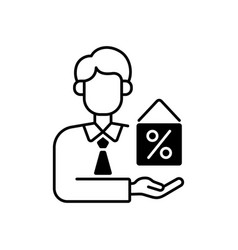 Mortgage broker black linear icon vector