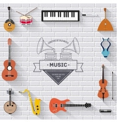 Music instruments on white modern brick wall vector image