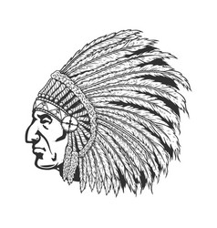 Native american chief head in traditional vector