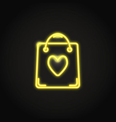 Neon shopping bag icon in line style vector
