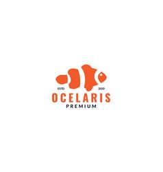 Ocellaris clownfish aquarium logo design vector