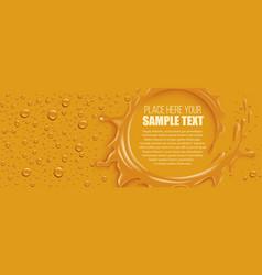 orange splash with many juice drops vector image