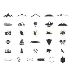 Outdoor adventure silhouette icons set climb and vector