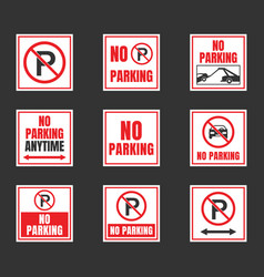 parking is prohibited icon set no parking signs vector image