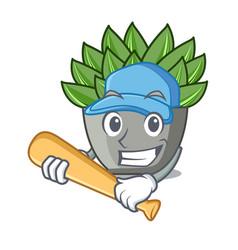 Playing baseball character cartoon pot plant vector