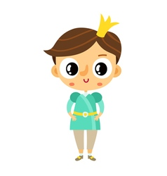 Prince little boy cartoon character isolated on vector image