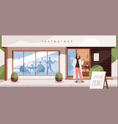 Restaurant exterior with people inside and outside vector