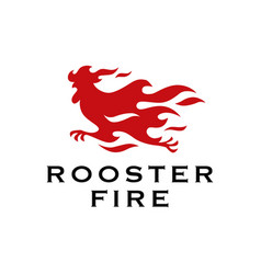 Rooster fire chicken flame logo icon vector