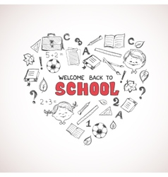 School objects in the shape of heart vector