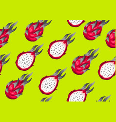 Seamless pattern with dragon fruits vector
