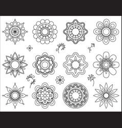 set flower mono line icons thin line blend vector image