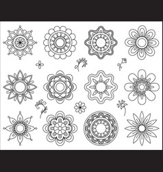 Set of flower mono line icons thin line blend vector