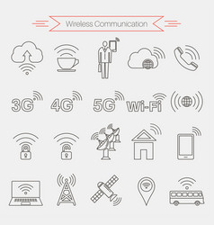 Set of icons of wireless communications vector