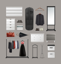 set of wardrobe stuff vector image