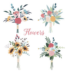 set wedding bouquets collection wild and vector image