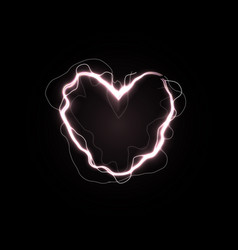 shining heart love power symbol electric line in vector image