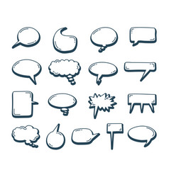 speech bubbles doodle element set hand drawn vector image