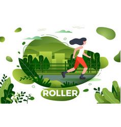 sporty girl roller skating vector image