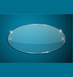 Transparent acrylic plate on blue perforated vector