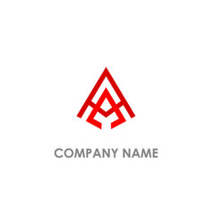 triangle a initial line company logo vector image