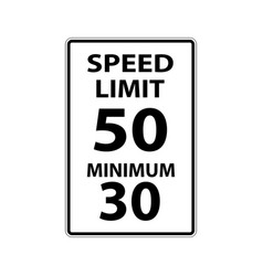 Usa traffic road signs max speed 50 mphmimimum vector